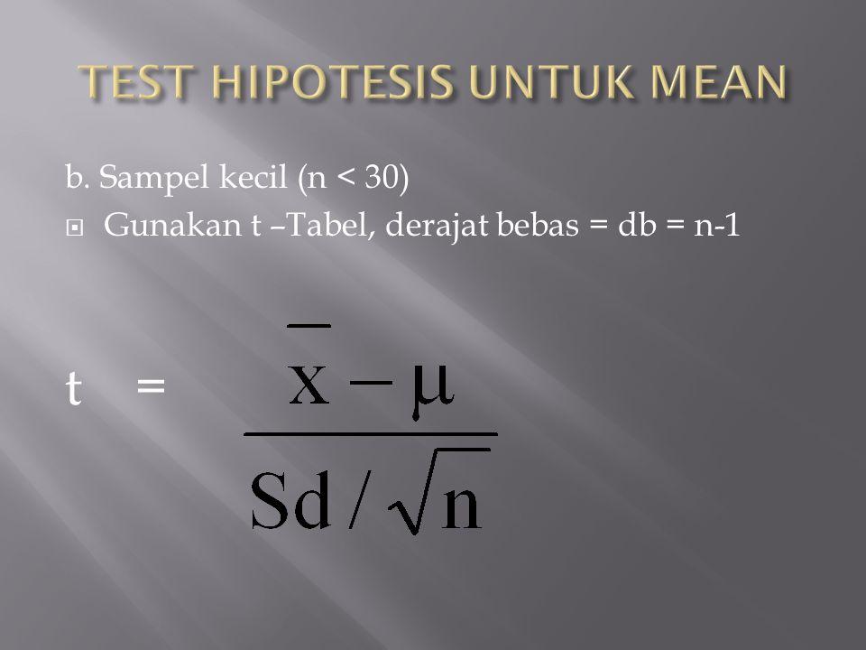 TEST HIPOTESIS UNTUK MEAN