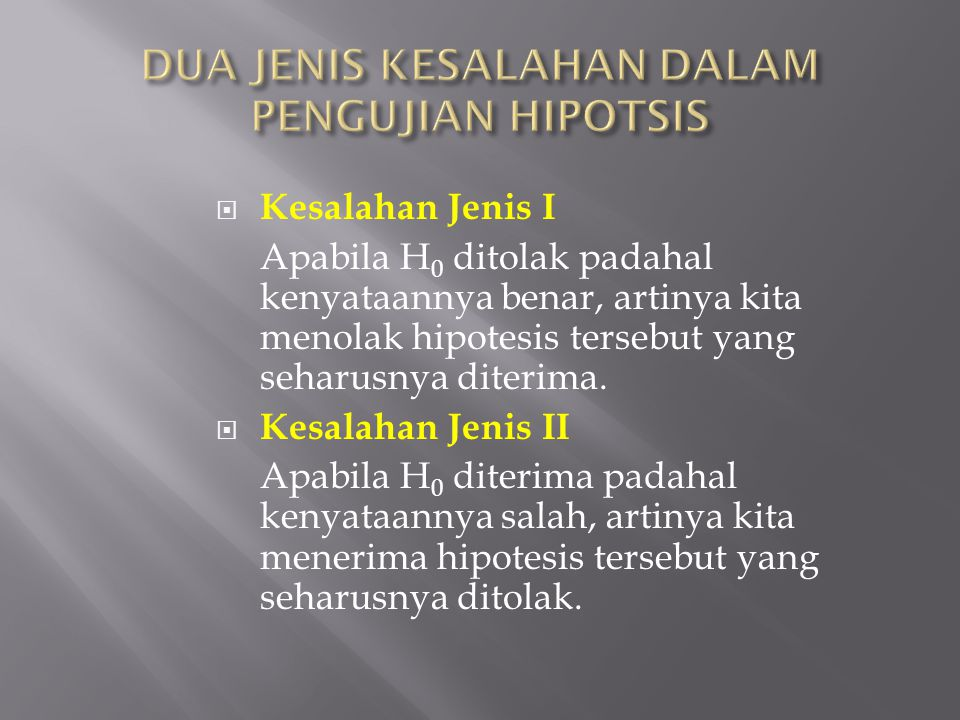 DUA JENIS KESALAHAN DALAM PENGUJIAN HIPOTSIS