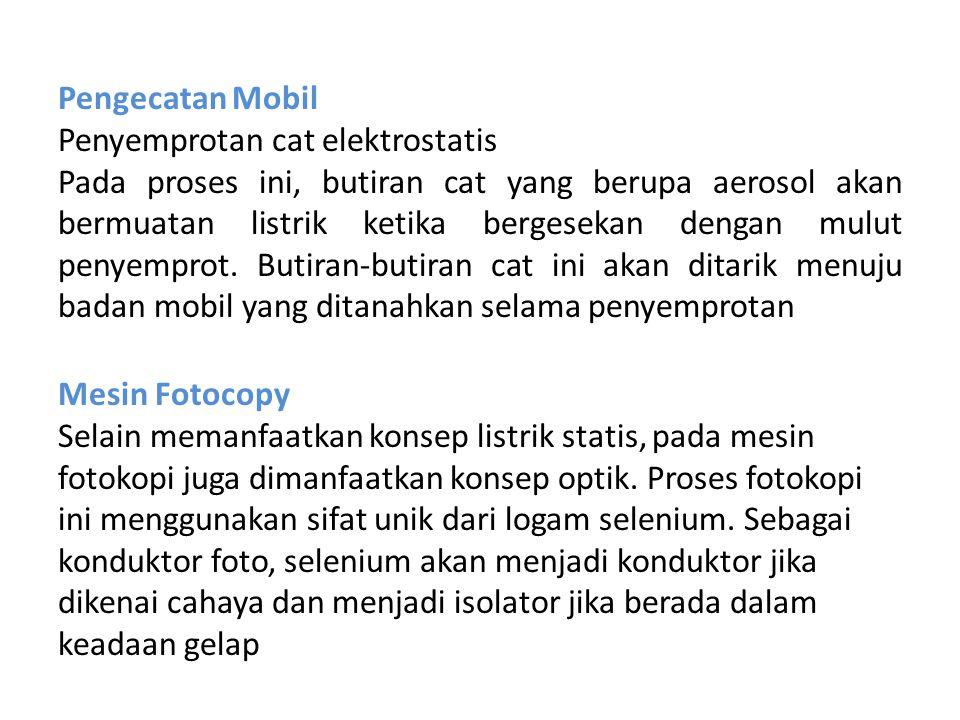 Pengecatan Mobil Penyemprotan cat elektrostatis.