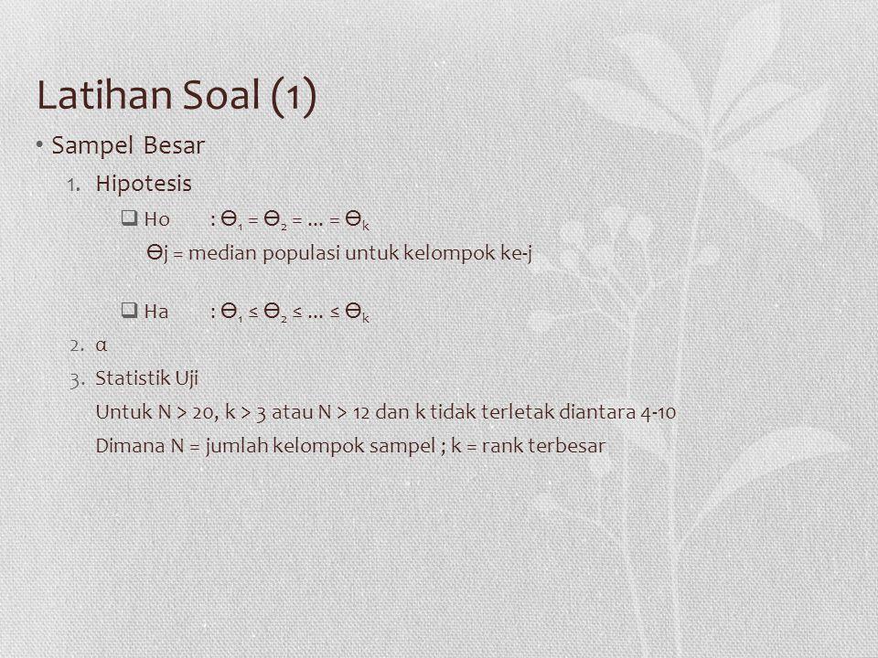Latihan Soal (1) Sampel Besar Hipotesis Ho : ϴ1 = ϴ2 = ... = ϴk
