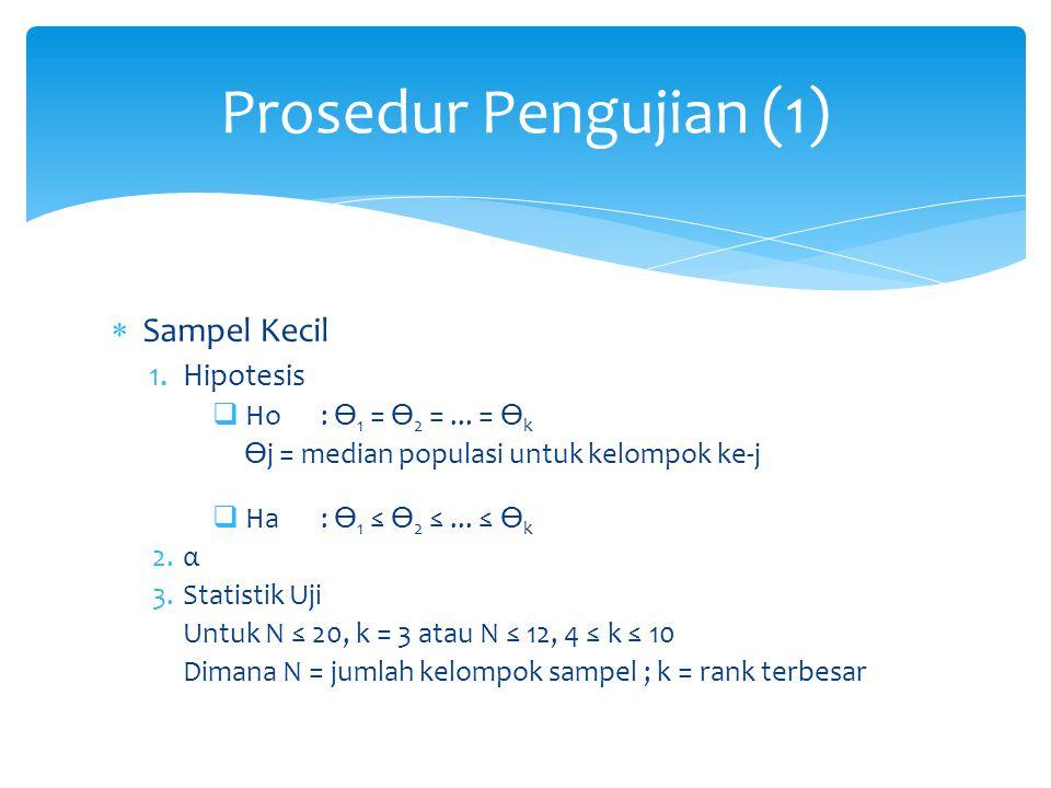 Prosedur Pengujian (1) Sampel Kecil Hipotesis Ho : ϴ1 = ϴ2 = ... = ϴk