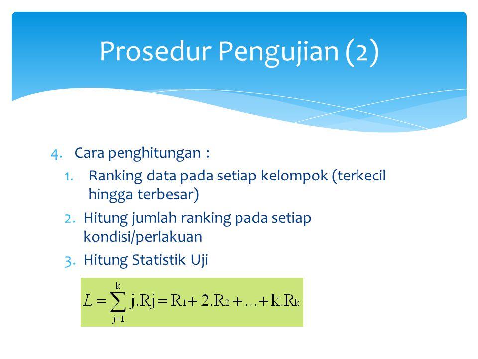 Prosedur Pengujian (2) Cara penghitungan :