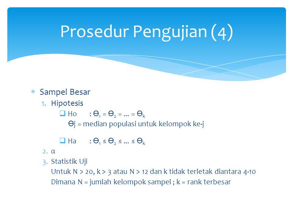 Prosedur Pengujian (4) Sampel Besar Hipotesis Ho : ϴ1 = ϴ2 = ... = ϴk