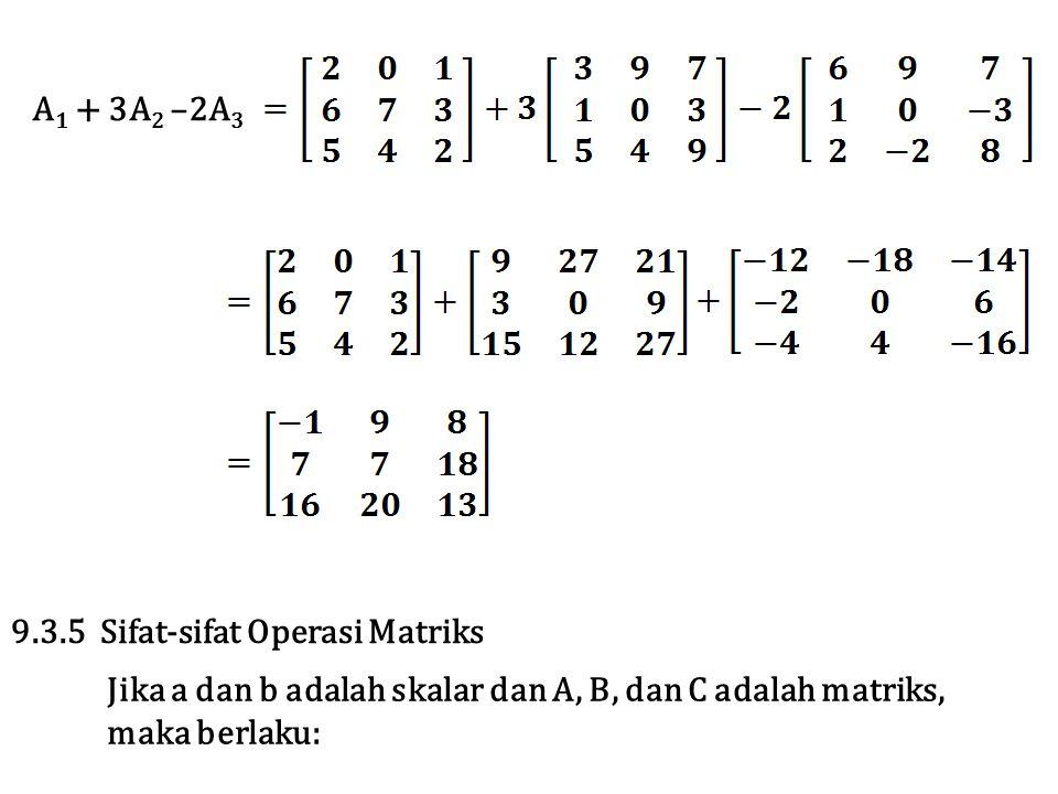 A1 + 3A2 –2A3 9.3.5 Sifat-sifat Operasi Matriks. Jika a dan b adalah skalar dan A, B, dan C adalah matriks,