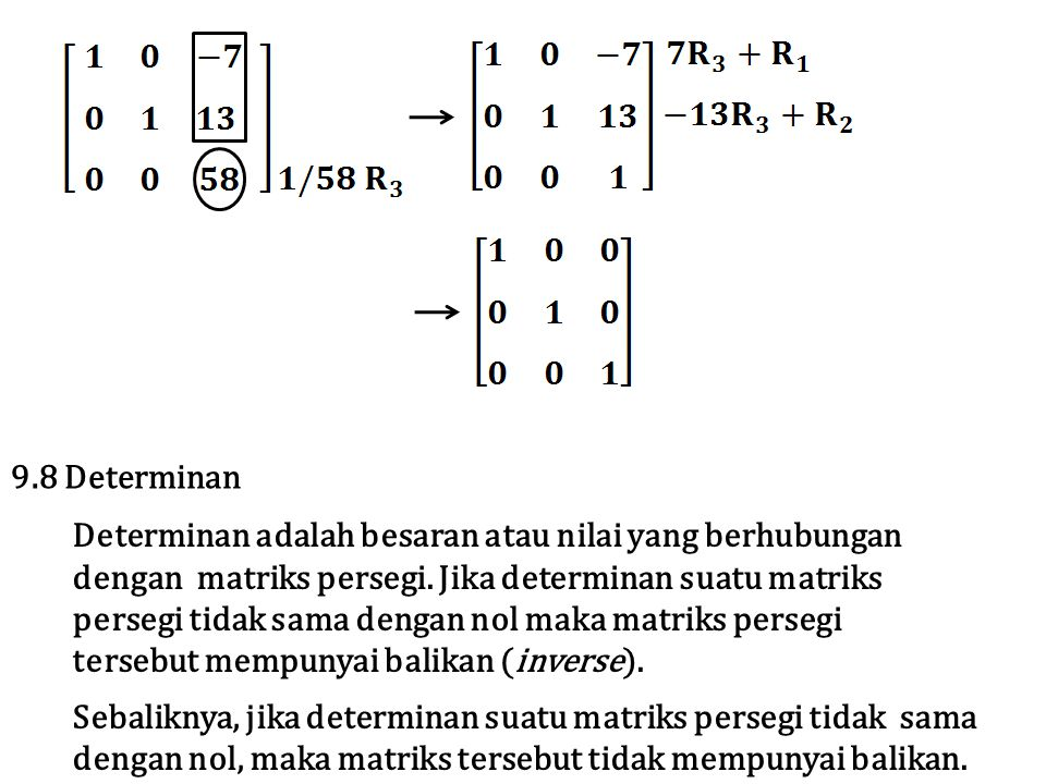 9.8 Determinan Determinan adalah besaran atau nilai yang berhubungan. dengan matriks persegi. Jika determinan suatu matriks.