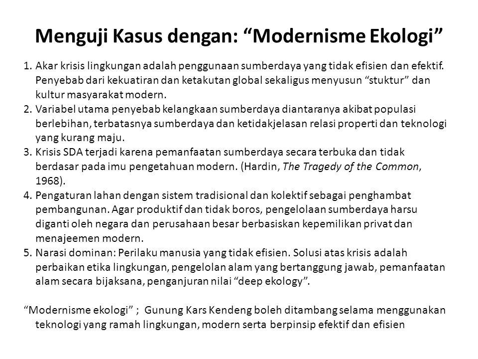 Menguji Kasus dengan: Modernisme Ekologi