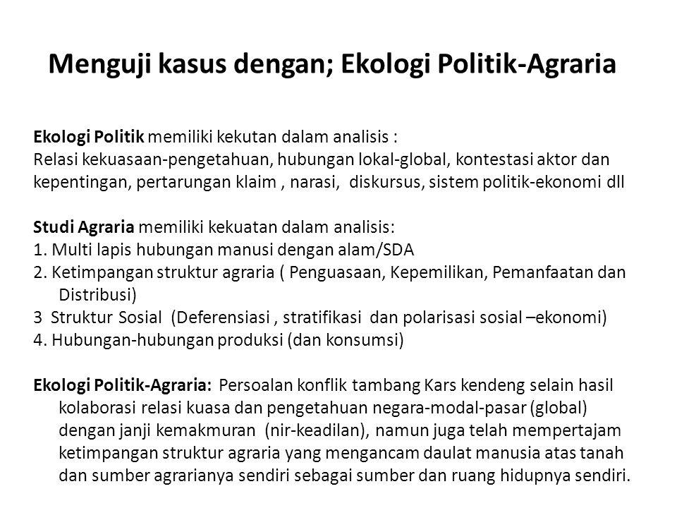 Menguji kasus dengan; Ekologi Politik-Agraria