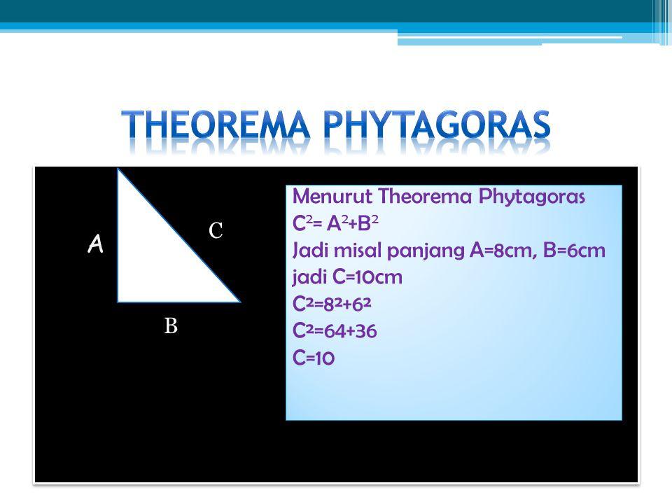 Theorema phytagoras A Menurut Theorema Phytagoras C2= A2+B2