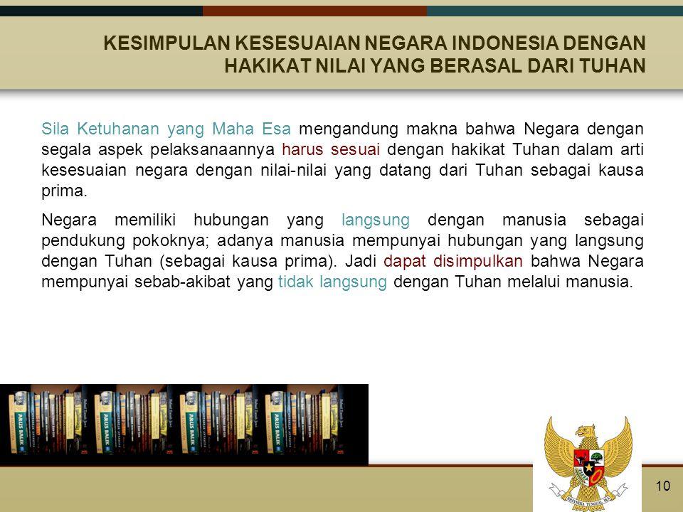 KESIMPULAN KESESUAIAN NEGARA INDONESIA DENGAN HAKIKAT NILAI YANG BERASAL DARI TUHAN