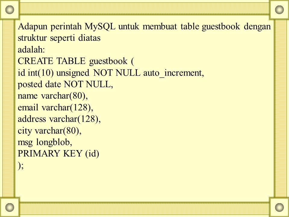 Adapun perintah MySQL untuk membuat table guestbook dengan struktur seperti diatas