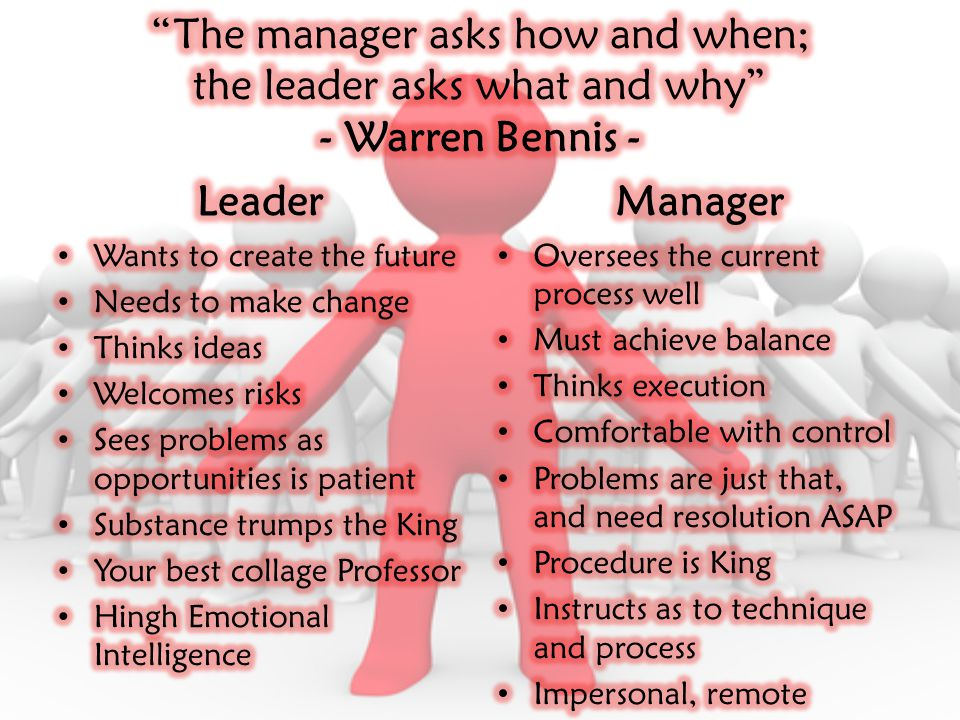 The manager asks how and when; the leader asks what and why - Warren Bennis -