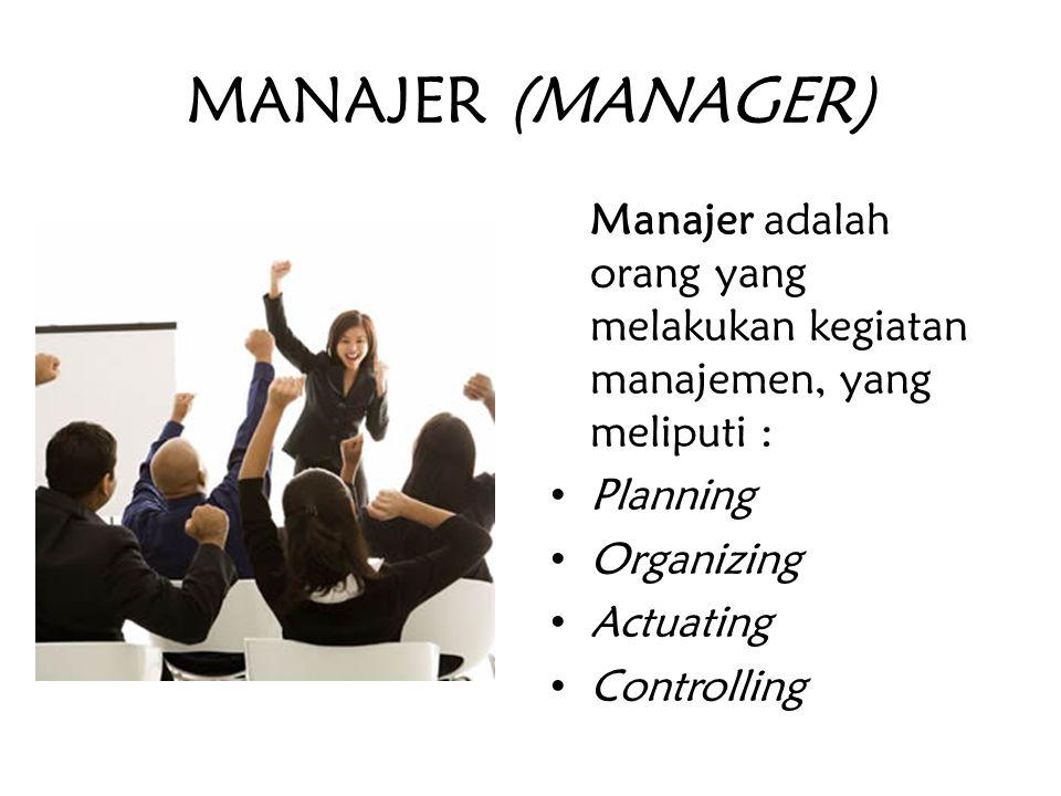 MANAJER (MANAGER) Manajer adalah orang yang melakukan kegiatan manajemen, yang meliputi : Planning.