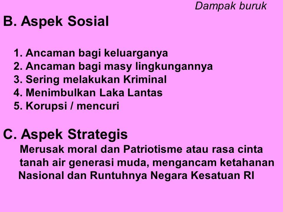 B. Aspek Sosial C. Aspek Strategis Dampak buruk
