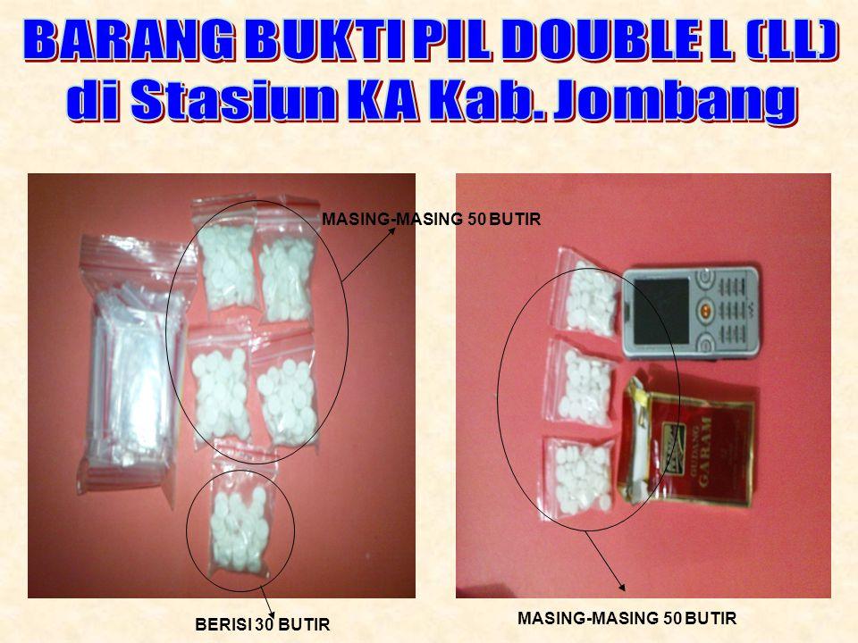 BARANG BUKTI PIL DOUBLE L (LL) di Stasiun KA Kab. Jombang