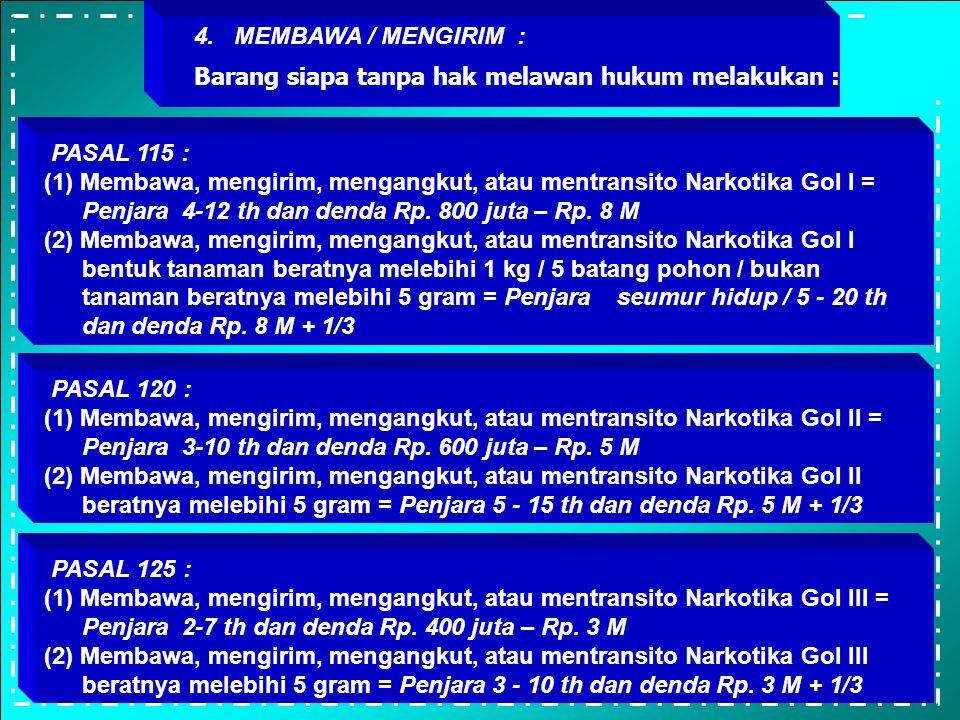 4. MEMBAWA / MENGIRIM : Barang siapa tanpa hak melawan hukum melakukan : PASAL 115 :