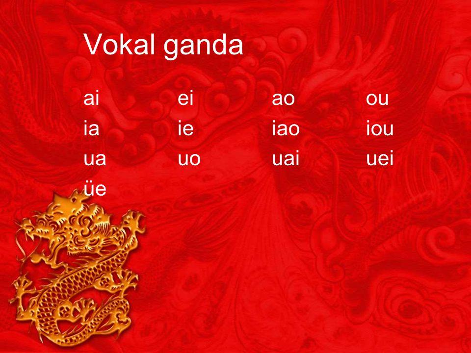 Vokal ganda ai ei ao ou ia ie iao iou ua uo uai uei üe