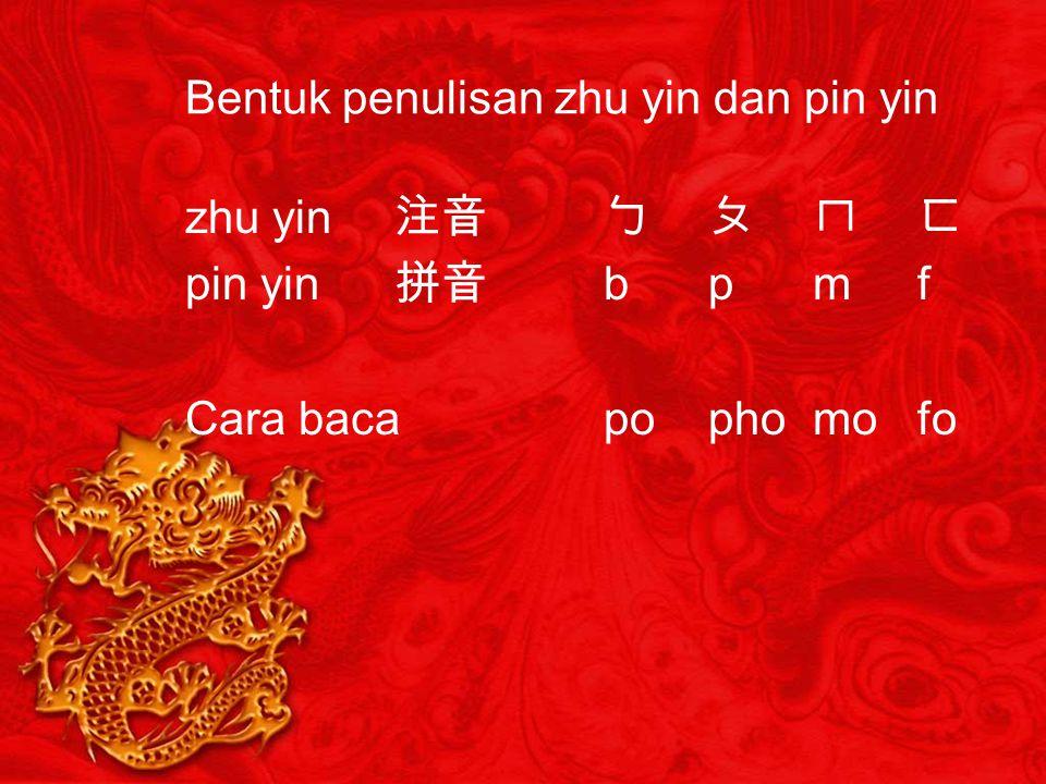 Bentuk penulisan zhu yin dan pin yin