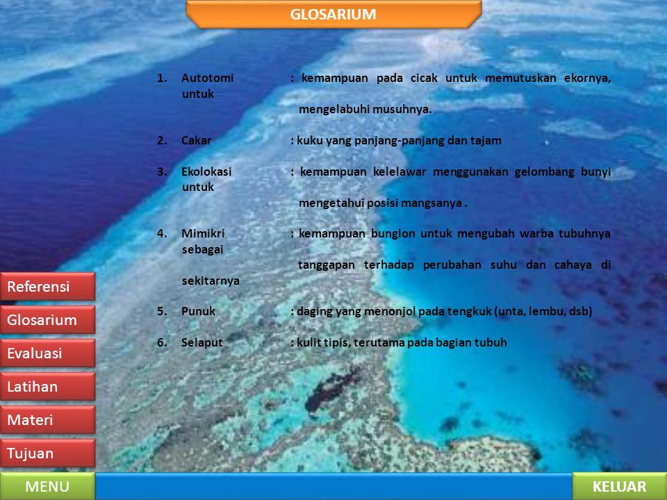 GLOSARIUM Referensi Glosarium Evaluasi Latihan Materi Tujuan MENU