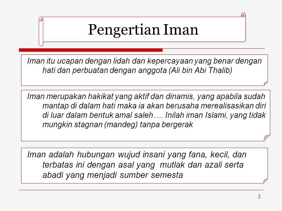 Pengertian Iman Iman itu ucapan dengan lidah dan kepercayaan yang benar dengan hati dan perbuatan dengan anggota (Ali bin Abi Thalib)