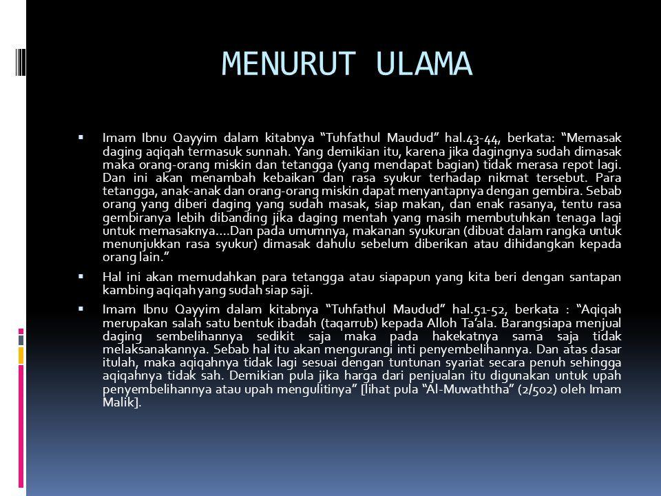 MENURUT ULAMA