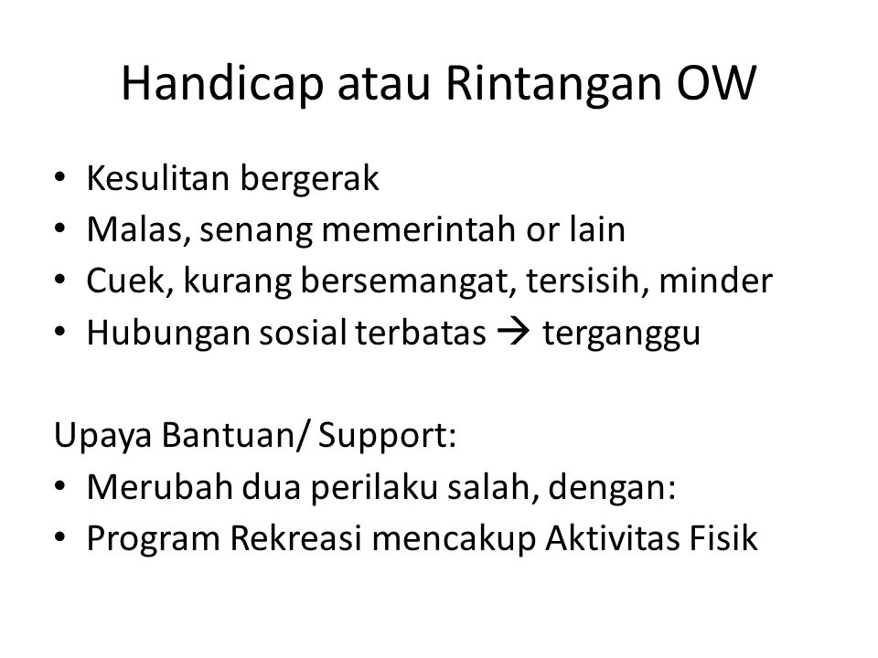 Handicap atau Rintangan OW