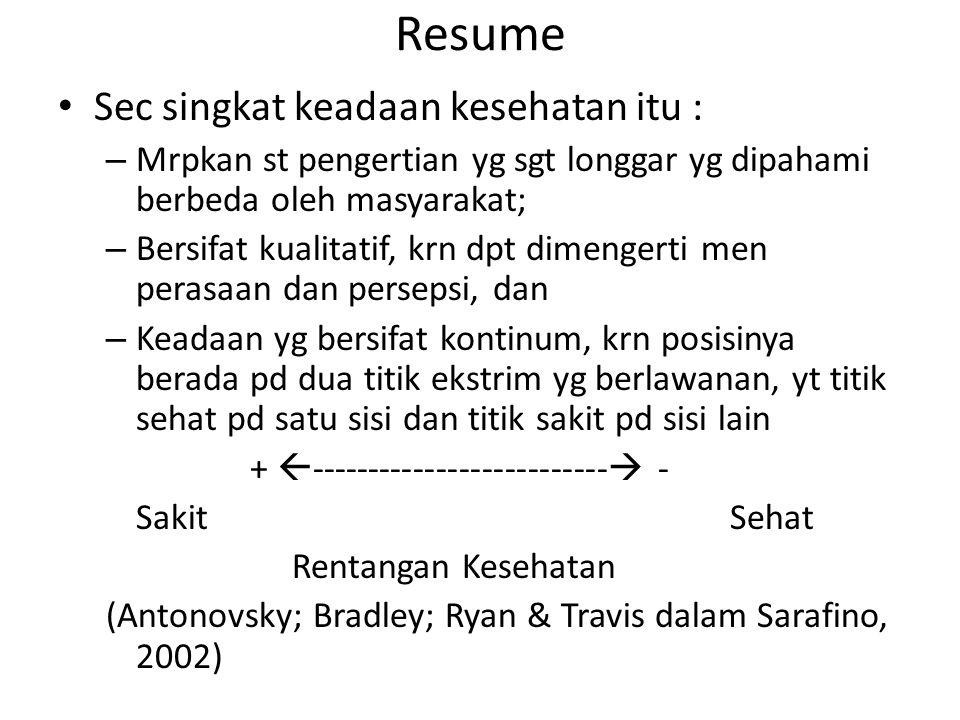 Resume Sec singkat keadaan kesehatan itu :