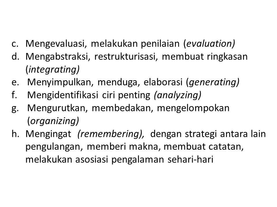 Mengevaluasi, melakukan penilaian (evaluation)