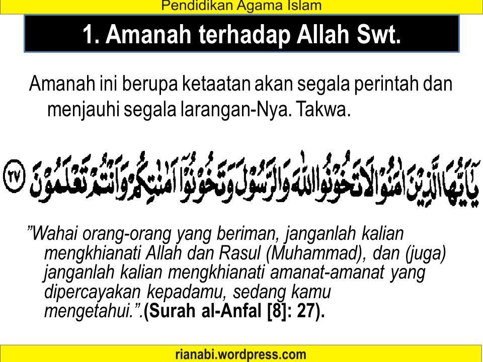 1. Amanah terhadap Allah Swt.