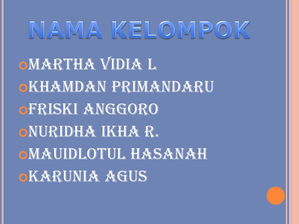 NAMA KELOMPOK Martha Vidia L Khamdan Primandaru Friski Anggoro