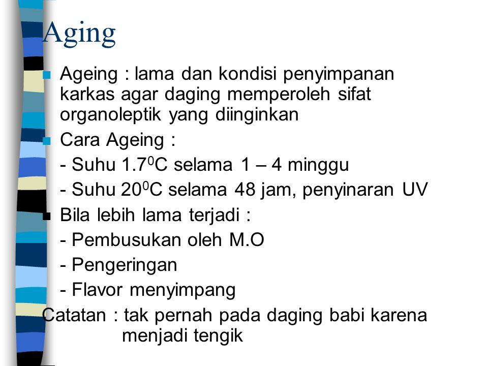 Aging Ageing : lama dan kondisi penyimpanan karkas agar daging memperoleh sifat organoleptik yang diinginkan.