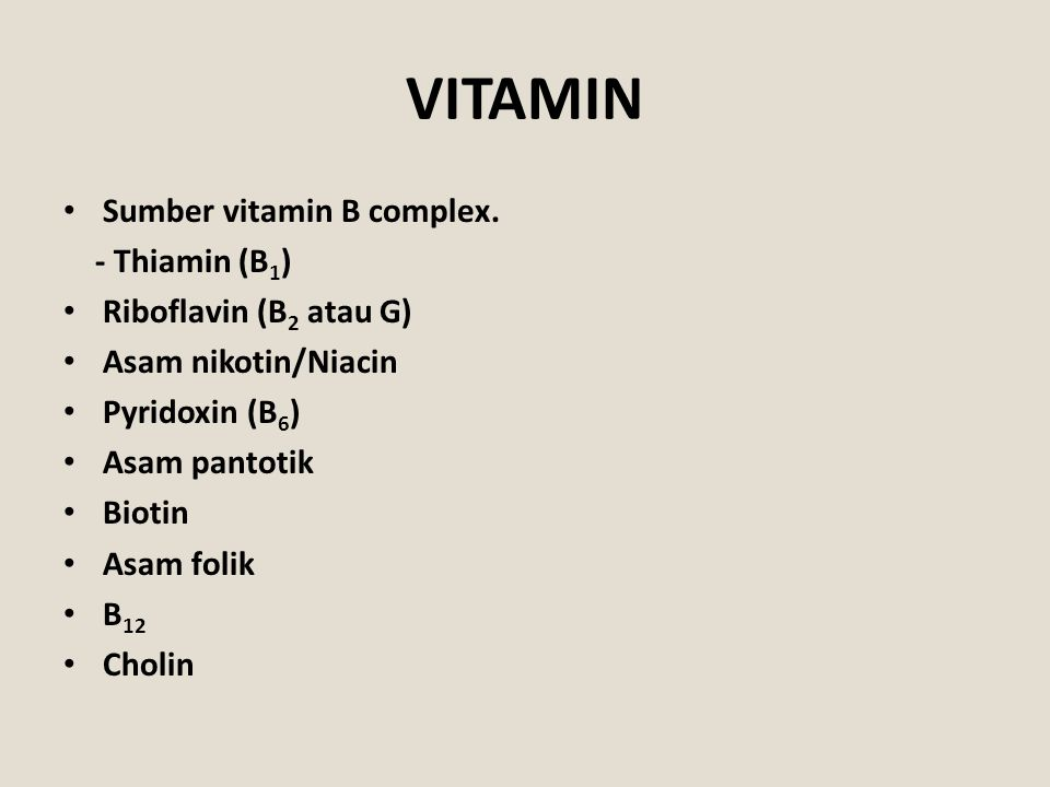 VITAMIN Sumber vitamin B complex. - Thiamin (B1)
