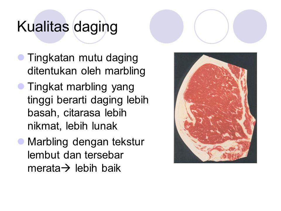 Kualitas daging Tingkatan mutu daging ditentukan oleh marbling