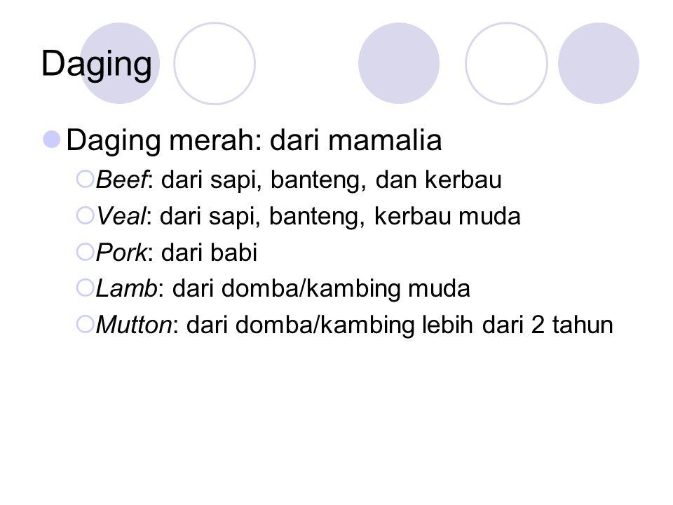 Daging Daging merah: dari mamalia Beef: dari sapi, banteng, dan kerbau