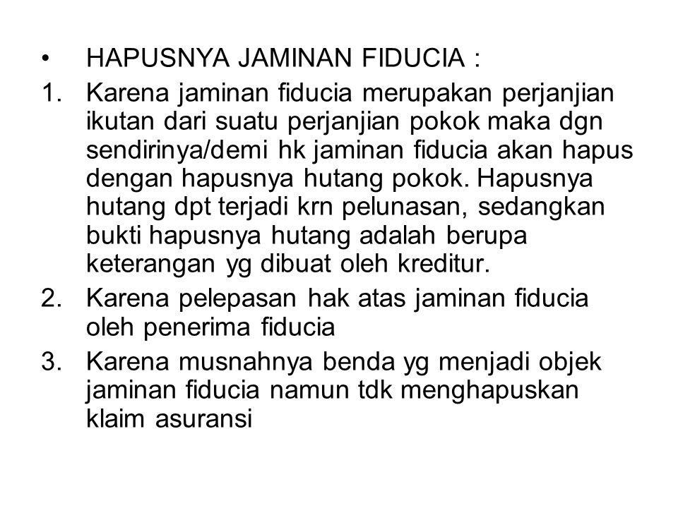 HAPUSNYA JAMINAN FIDUCIA :