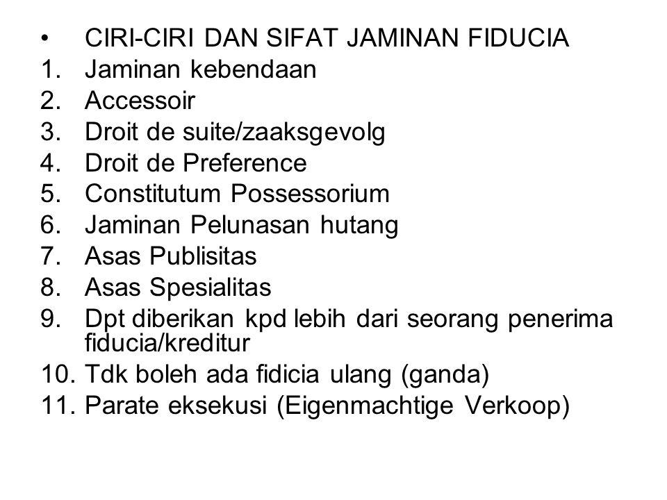 CIRI-CIRI DAN SIFAT JAMINAN FIDUCIA