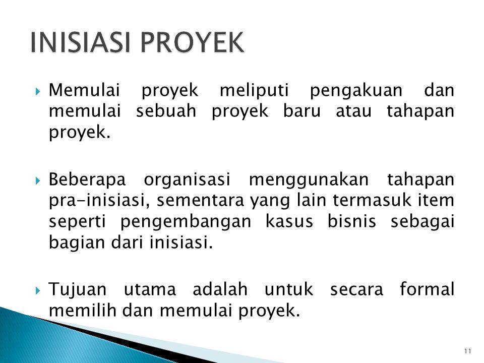 INISIASI PROYEK Memulai proyek meliputi pengakuan dan memulai sebuah proyek baru atau tahapan proyek.