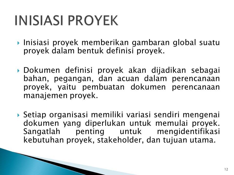 INISIASI PROYEK Inisiasi proyek memberikan gambaran global suatu proyek dalam bentuk definisi proyek.