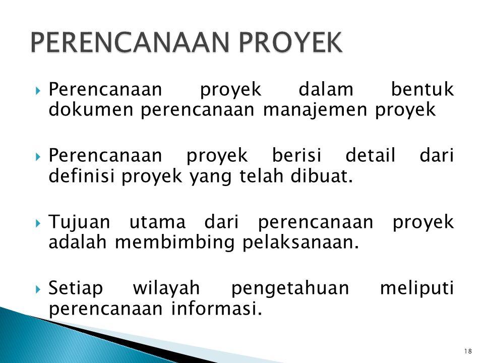 PERENCANAAN PROYEK Perencanaan proyek dalam bentuk dokumen perencanaan manajemen proyek.