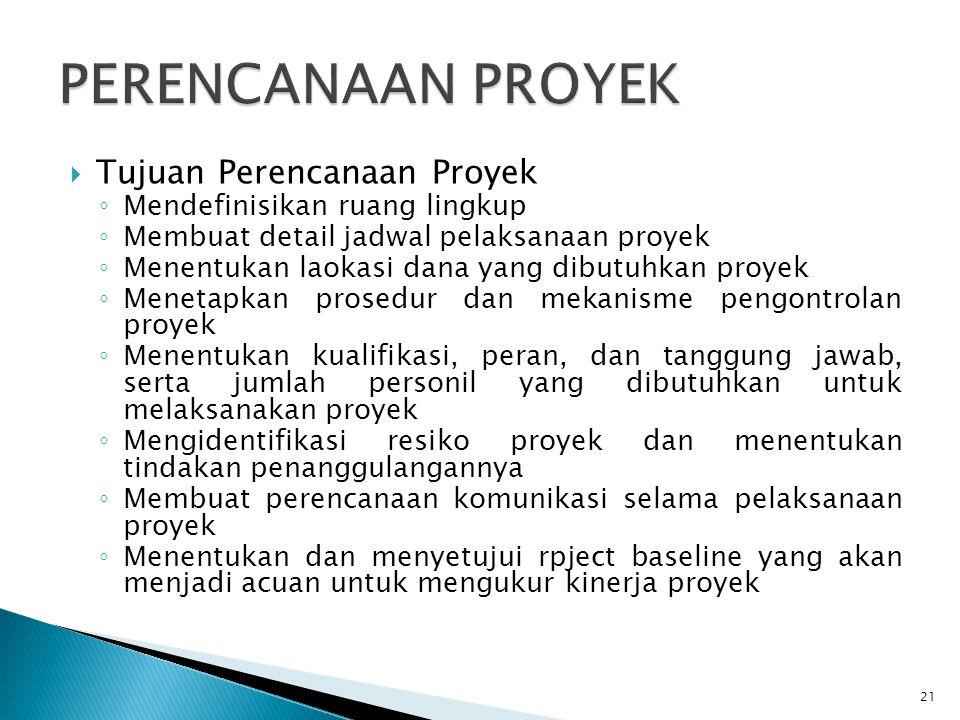 PERENCANAAN PROYEK Tujuan Perencanaan Proyek
