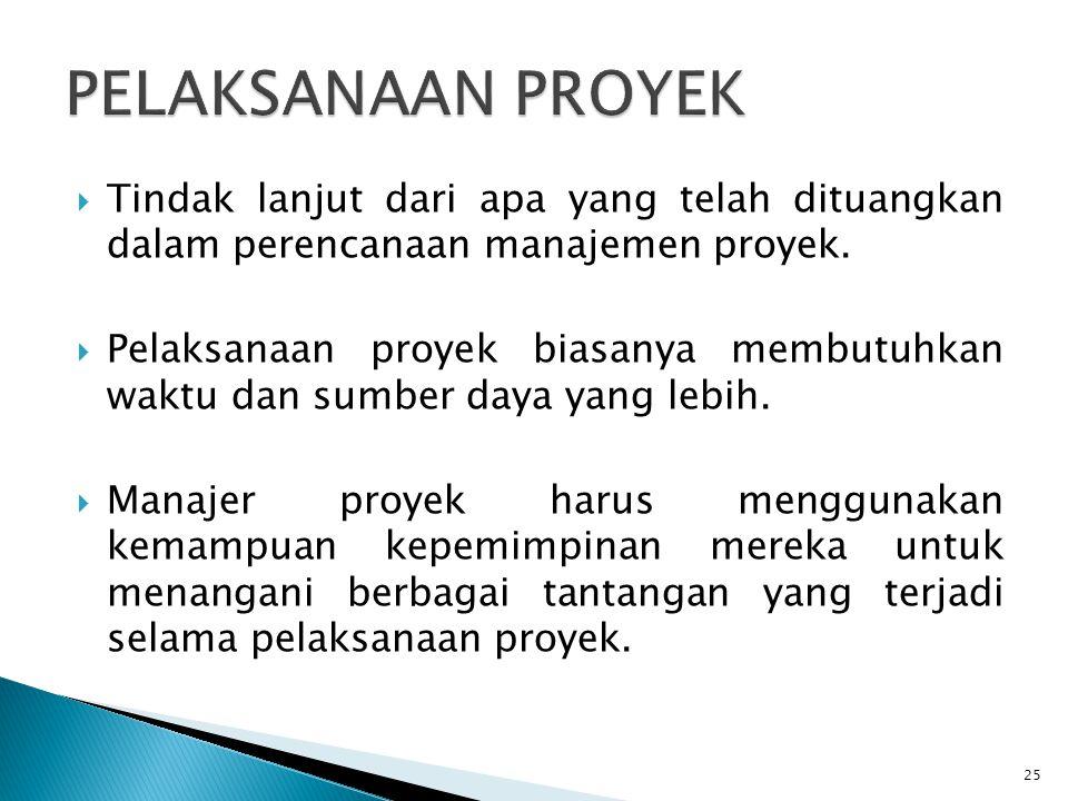 PELAKSANAAN PROYEK Tindak lanjut dari apa yang telah dituangkan dalam perencanaan manajemen proyek.