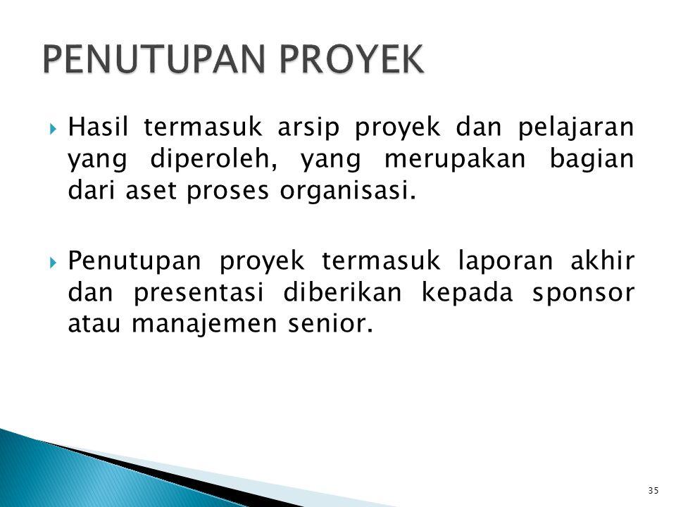 PENUTUPAN PROYEK Hasil termasuk arsip proyek dan pelajaran yang diperoleh, yang merupakan bagian dari aset proses organisasi.