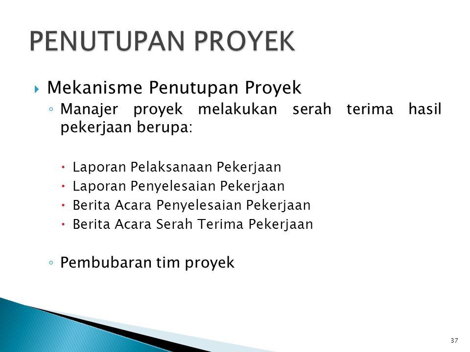 PENUTUPAN PROYEK Mekanisme Penutupan Proyek