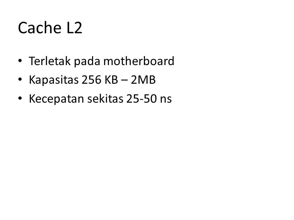 Cache L2 Terletak pada motherboard Kapasitas 256 KB – 2MB