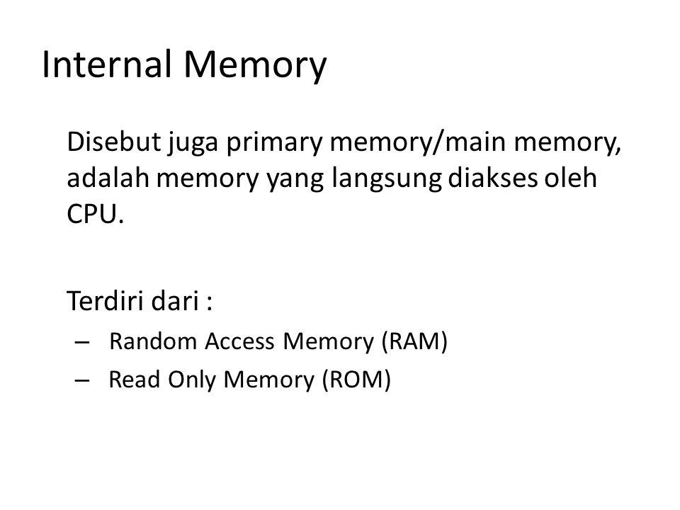 Internal Memory Disebut juga primary memory/main memory, adalah memory yang langsung diakses oleh CPU.