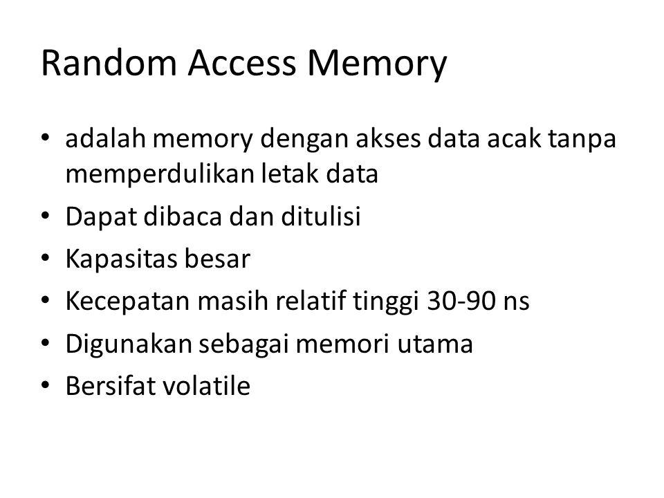 Random Access Memory adalah memory dengan akses data acak tanpa memperdulikan letak data. Dapat dibaca dan ditulisi.