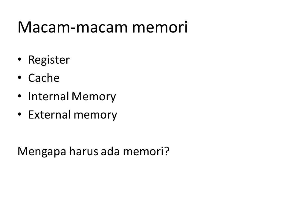 Macam-macam memori Register Cache Internal Memory External memory