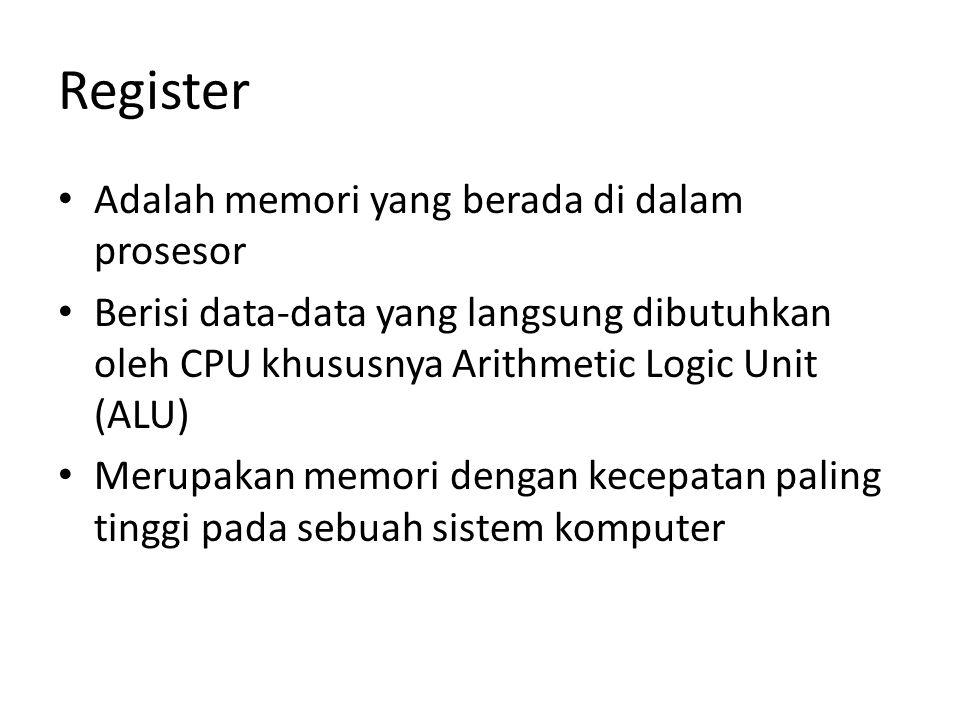Register Adalah memori yang berada di dalam prosesor