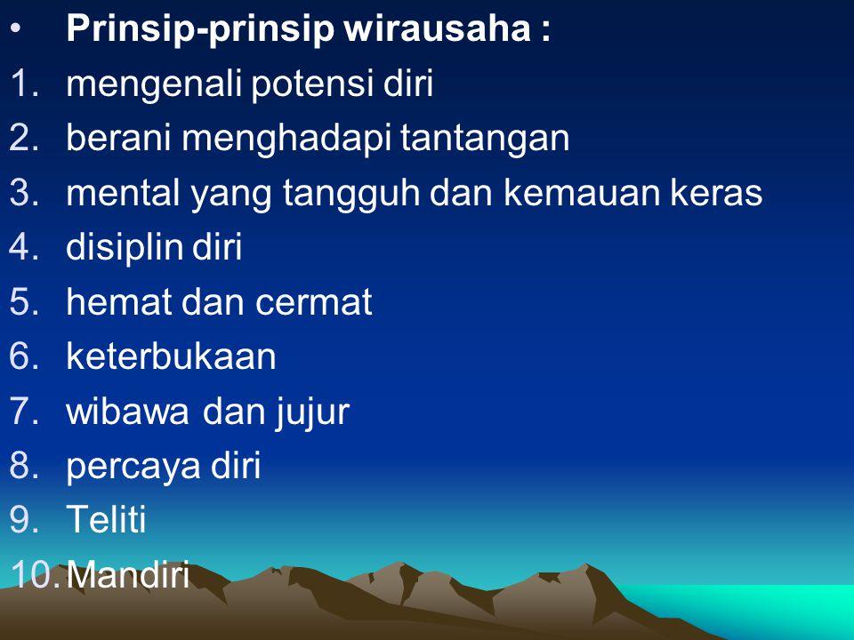 Prinsip-prinsip wirausaha :