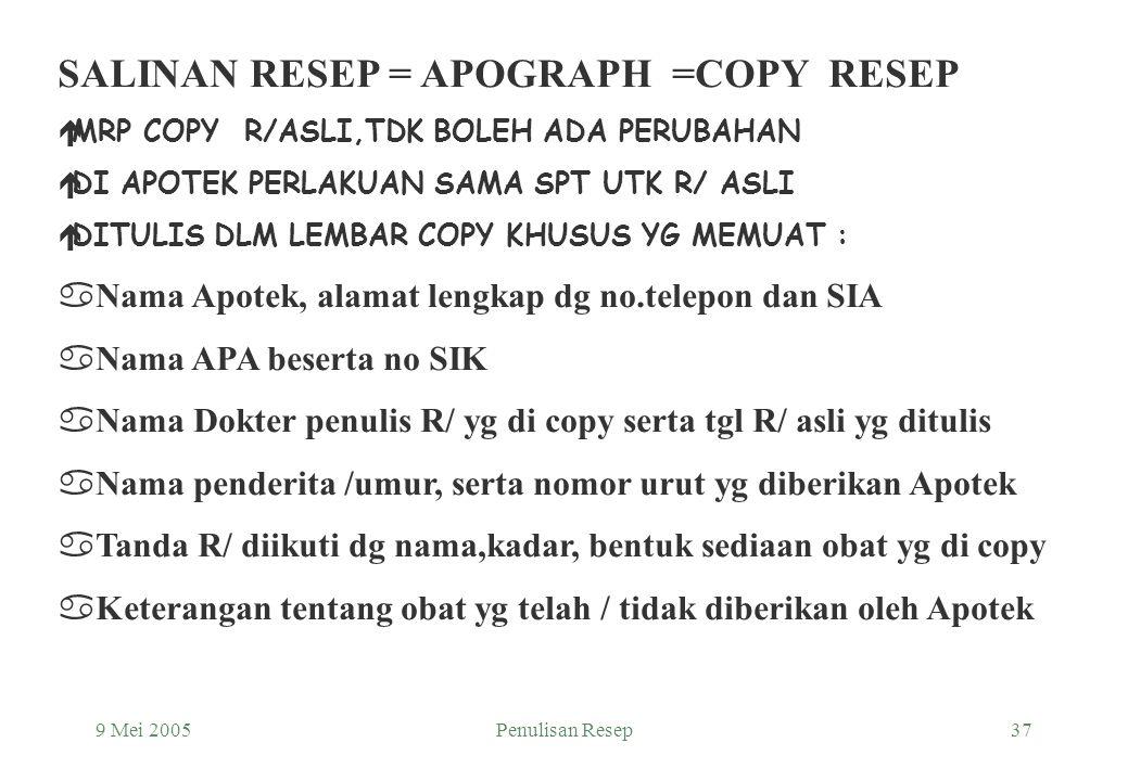 SALINAN RESEP = APOGRAPH =COPY RESEP