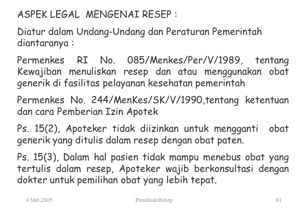 ASPEK LEGAL MENGENAI RESEP :